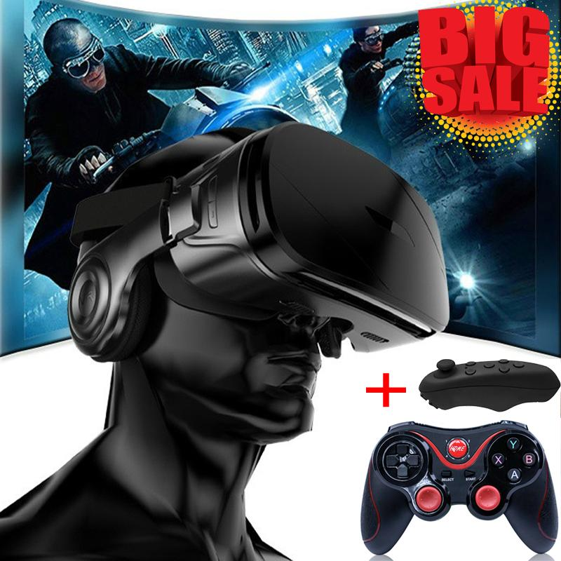 VR G300 Super Bass 3D VR Glasses Box Headset for 4 5-6 2 Inch IOS Android  With Special Handle C8 Smartphone Game Controller