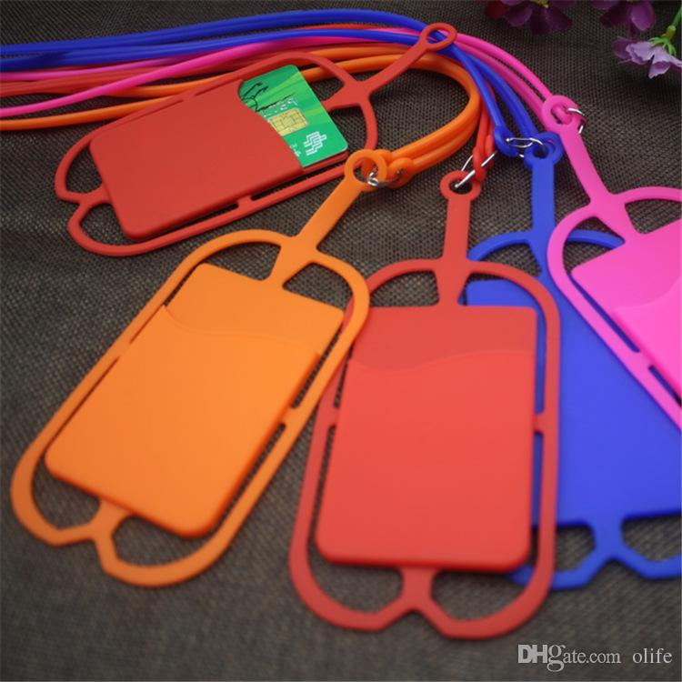 Credit ID Card Bag Holder Silicone Lanyards strap pouch card slot Necklace Sling holder For iphone x 8 7 6 Universal Mobile Cell Phone DHL