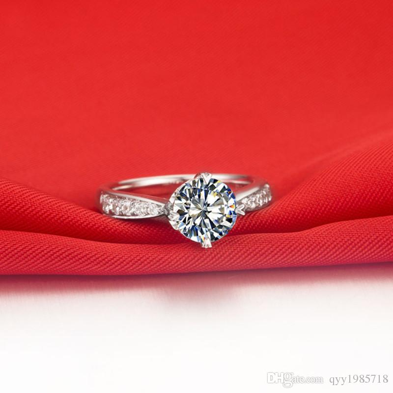 الجملة 1ct الكلاسيكية النساء خاتم الزواج الاصطناعية الماس فضة خاتم الخطوبة 18 كيلو الذهب الأبيض مطلي غرامة مجوهرات