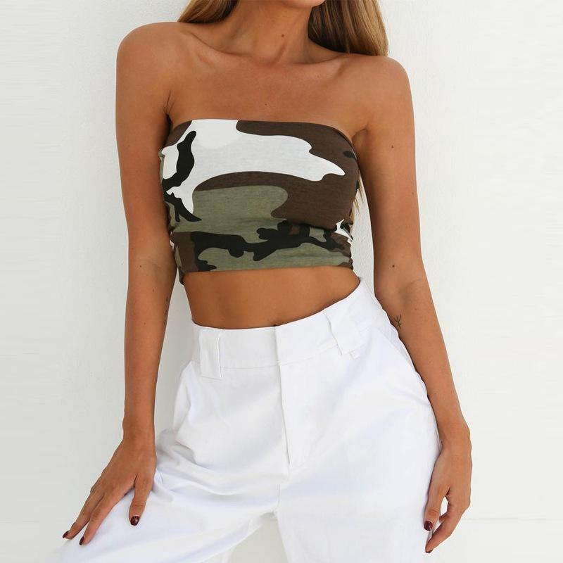 f555f8aaeffb2d Camouflage Tank Tops Sleeveless Strapless Off Shoulder Backless ...