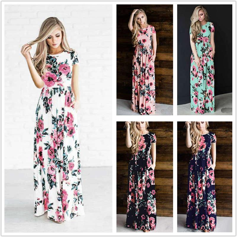 04a7be4f6619 Women Floral Print Short Sleeve Boho Dress Evening Gown Party Long Maxi  Dress Summer Sundress Short Prom Dress Evening Dresses For Women From  Wonderfulwatch ...
