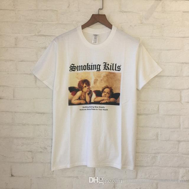 Summer Style Smoking Angels Print Women Men T Shirts Tee Hiphop High Street  100% Cotton Men Tops Tees T Shirt 2018 Tee Designs Neck T Shirts From ... 5028134861fc