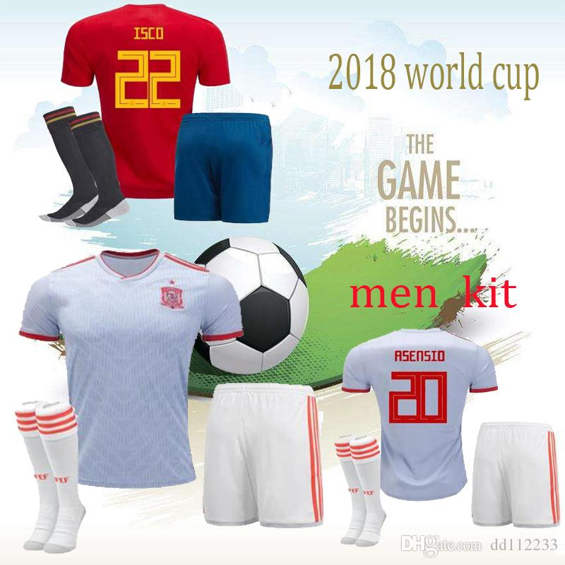 82ef12a7e38 2019 2018 World Cup Spain Soccer Jersey Shorts Socks Adult Home Red AWAY  White Morata 18 19 Ramos ASENSIO ISCO THIAGO Men Sets Camiseta De Futbol  From ...