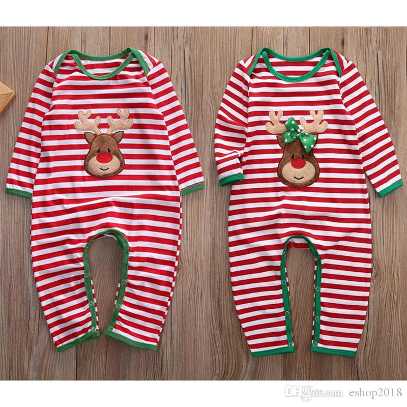 06b9c13048250 Best Deal Xmax Baby Girl Boy Clothes Pajamas Outfit Newborn Kids Christmas  Bodysuit Striped Romper Rudolph Reindeer 2 Styles Winter Clothes