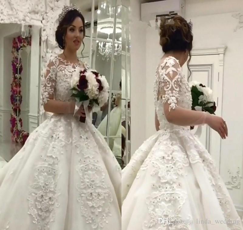 3c8df2d2f377 2018 Vintage Arabic Dubai Princess Wedding Dress Long Sleeve Muslim  Appliques Lace Church Formal Bride Bridal Gown Plus Size Custom Made Modest  Dresses ...