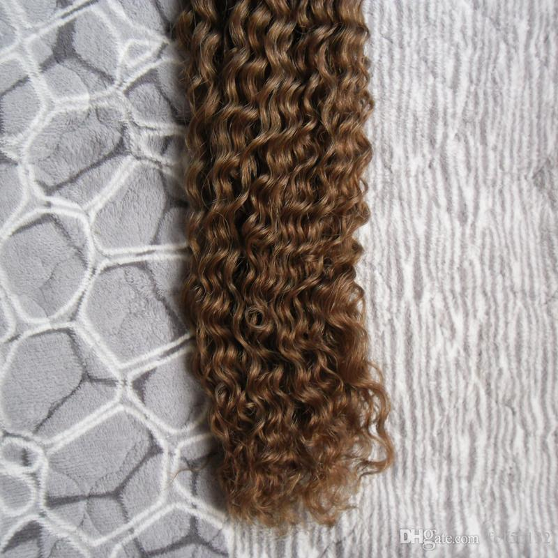 #8 Light Brown Machine Made Remy Human Fusion Hair I Nail Tip kinky curly Pred Bond Keratin Human Hair Extension 100g/strands