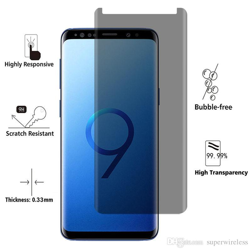 For Galaxy S9 S9 Plus S8 Note8 Screen Protector Privacy Tempered Glass Anti Glare HD Privacy Case Friendly Screen Protector Film