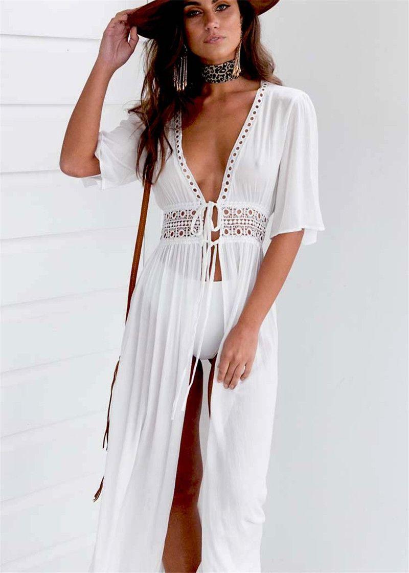 48a512db66c 2019 Hot Sale Women Deep V Hollow Out Summer Dress Beachwear Holiday Split  Lace Up Dress Kaftan White Boho Long Maxi Dresses Swimwear From Longmian