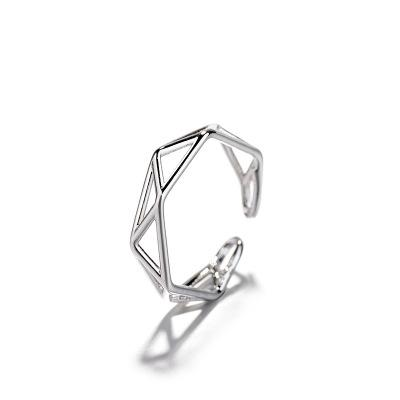 Simple Geometry Hollowed Out Index Finger Ring Female Simple Personality Creative European And American Jewelry Rings
