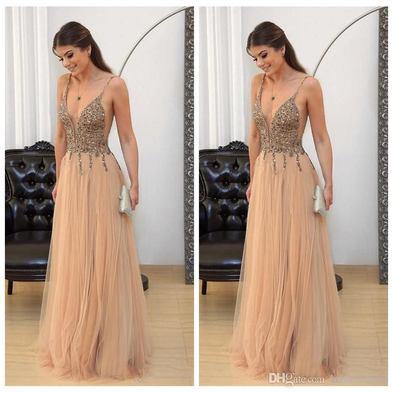 Sexy Deep V Neck Champagne Beaded Prom Dresses 2018 ...