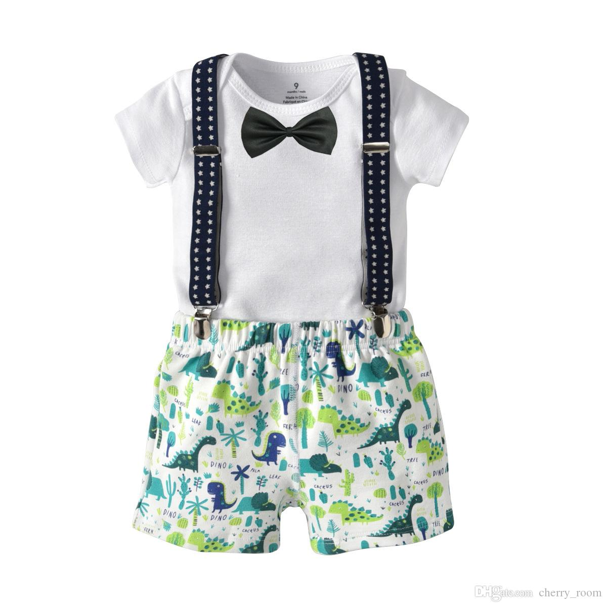 8eb7330d9501 Cartoon Baby Boys Outfits 2018 New Summer Gentleman Toddler Clothes Sets  Romper + Dinosaur Shorts + suspenders + bow tie 4pcs Suits C3412