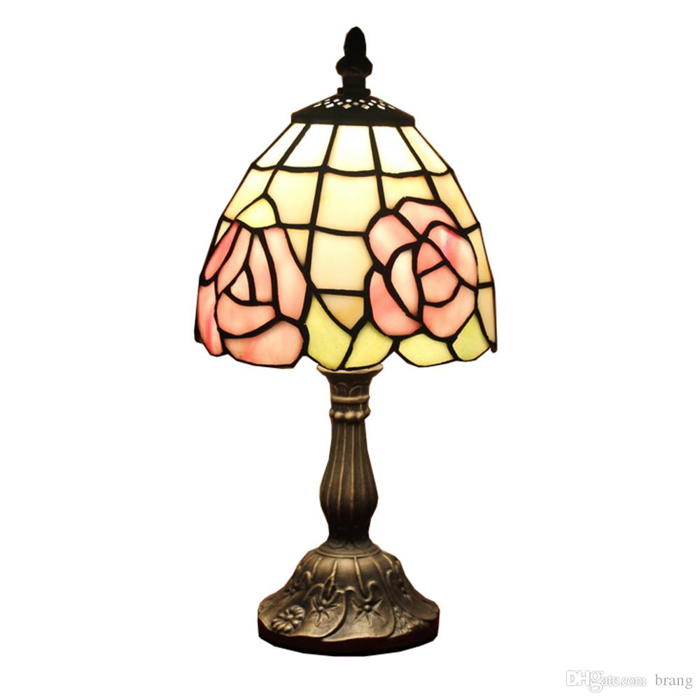 Small Desk Lamp Rose Style Table Lamp Lighting Stained Glass Bedside Lamp