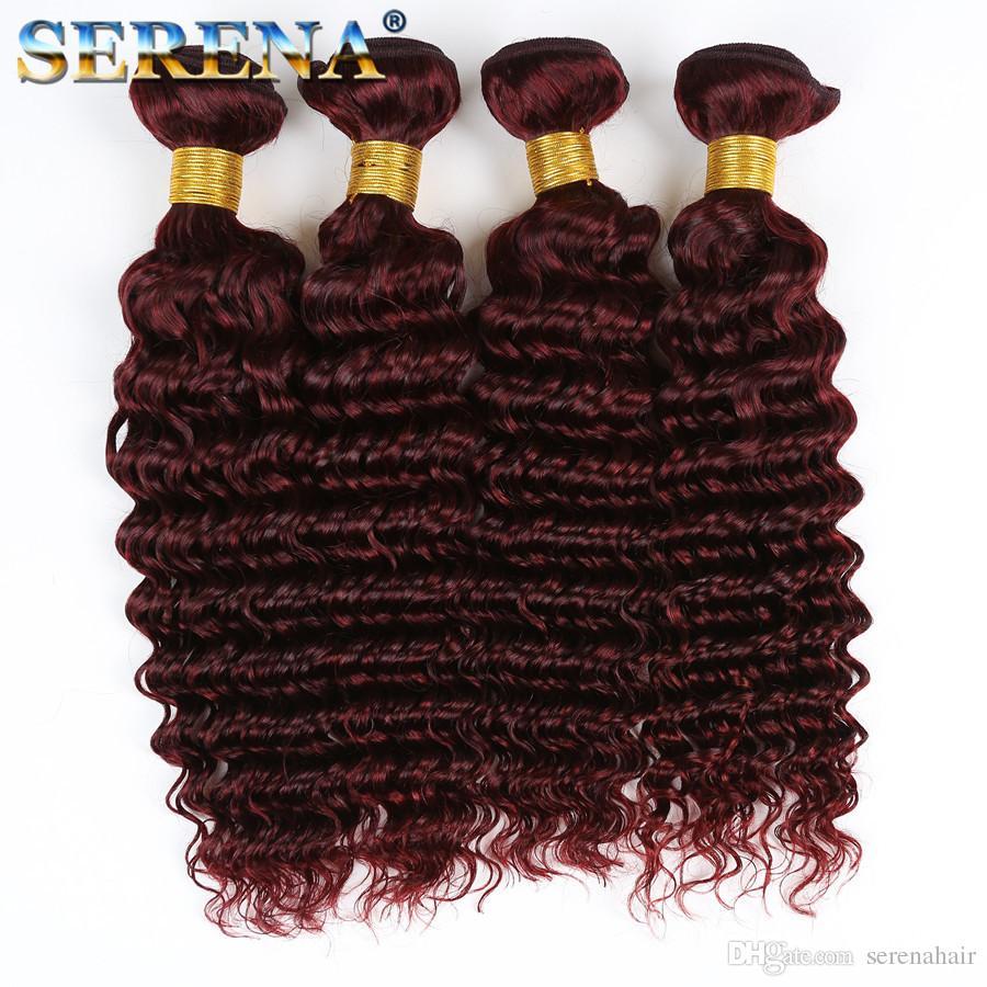 브라질 99J 인간의 머리카락 짜기 백퍼센트 인간의 머리카락 확장기 딥 웨이브 와인 레드 3Bundles 13x4 귀에 귀 앞다리 부르고뉴 머리카락과 함께