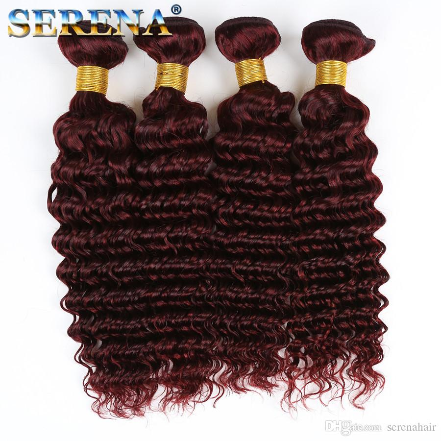 99J Deep Wave Hair With Lace Frontal Brazilian Virgin Hair Deep Wave Curly 99j Wine Red Hair 4 Bundles With 13x4 Frontal Burgundy Colored