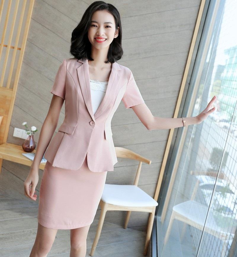 ed3e5277fb0a56 Mode d été femme jupe costumes pour les femmes Business costumes rose  blazer et veste ensembles dames travail portent des uniformes de bureau