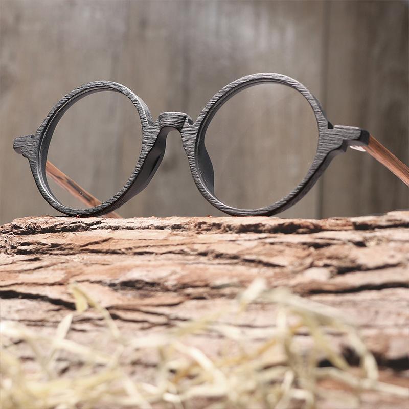 9e877371996 2019 Vintage Round Frame Optical Eyeglasses Imitation Wood Men Women Eye Glasses  Frames Designer Bamboo Eyewear Lentes Opticos Mujer From Zeipt