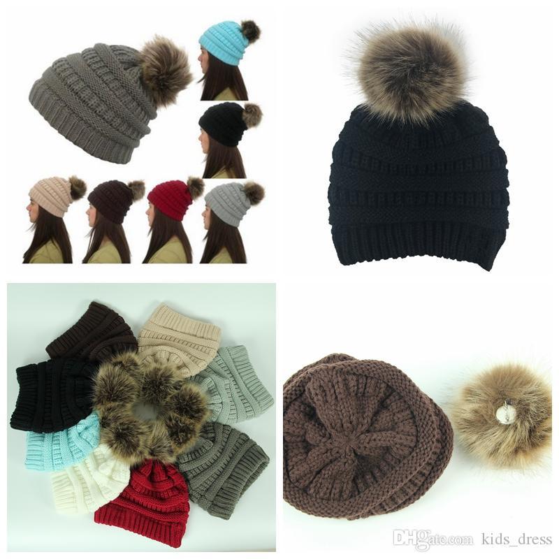 Compre Unisex Sombreros De Moda De Invierno Piel De Punto Poms ...