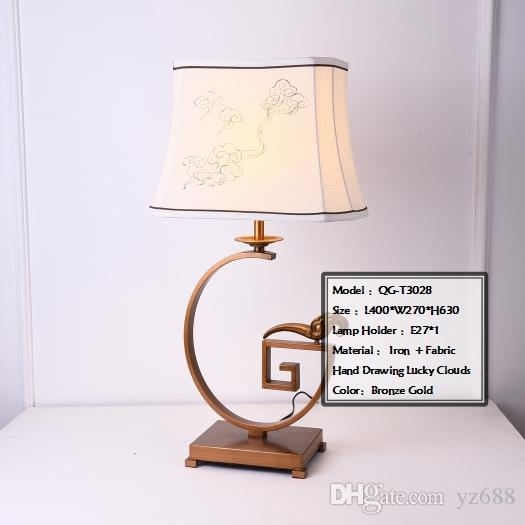 2019 New Chinese Style Table Lamp Wrought Iron Fabric Hand Drawing