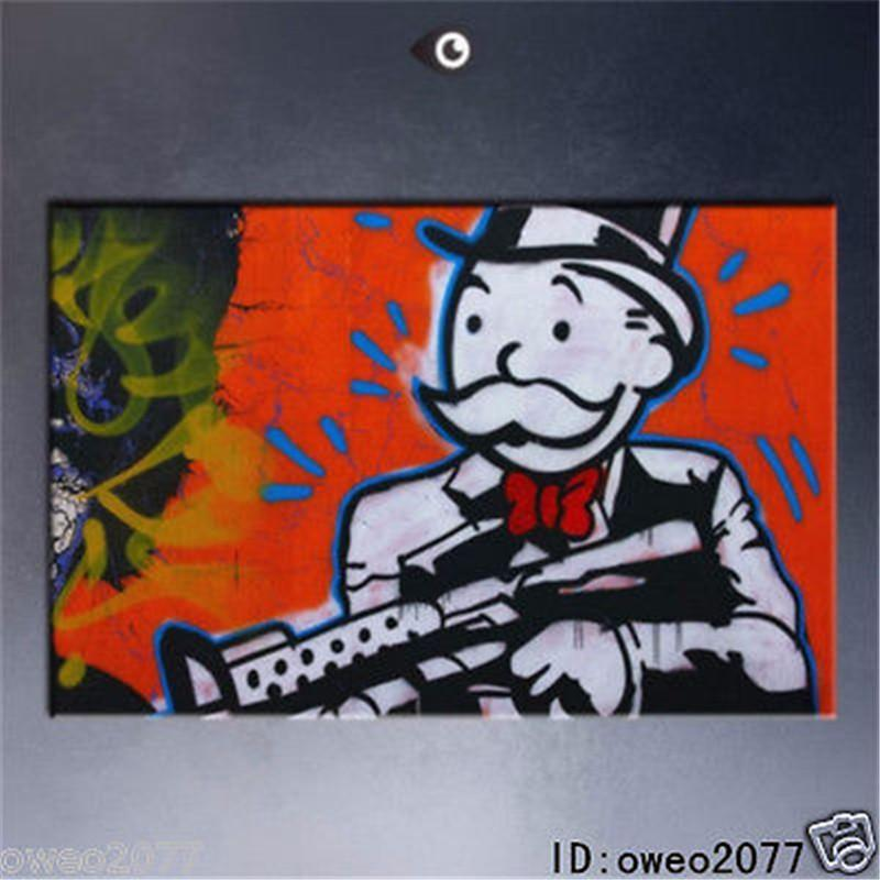 Alec monopoly graffiti Art Gun in hand Portrait MODERN ABSTRACT LARGE ART  OIL PAINTING WALL DECOR CANVAS FRAMED/STRETCH FRAMED