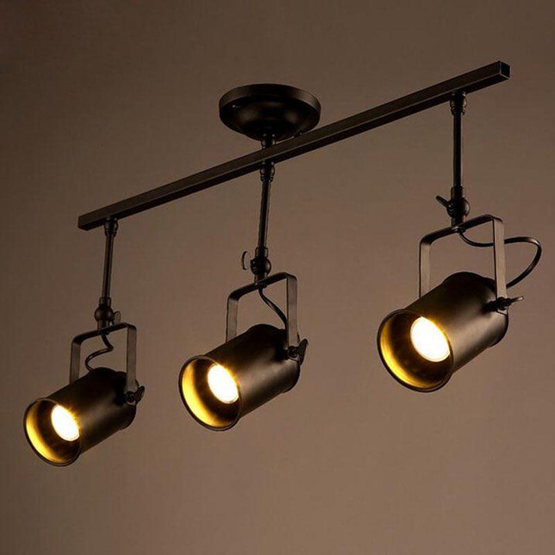 Acheter 1 2 3 4 Tete Cylindre Loft Plafonnier Luminaire Industriel