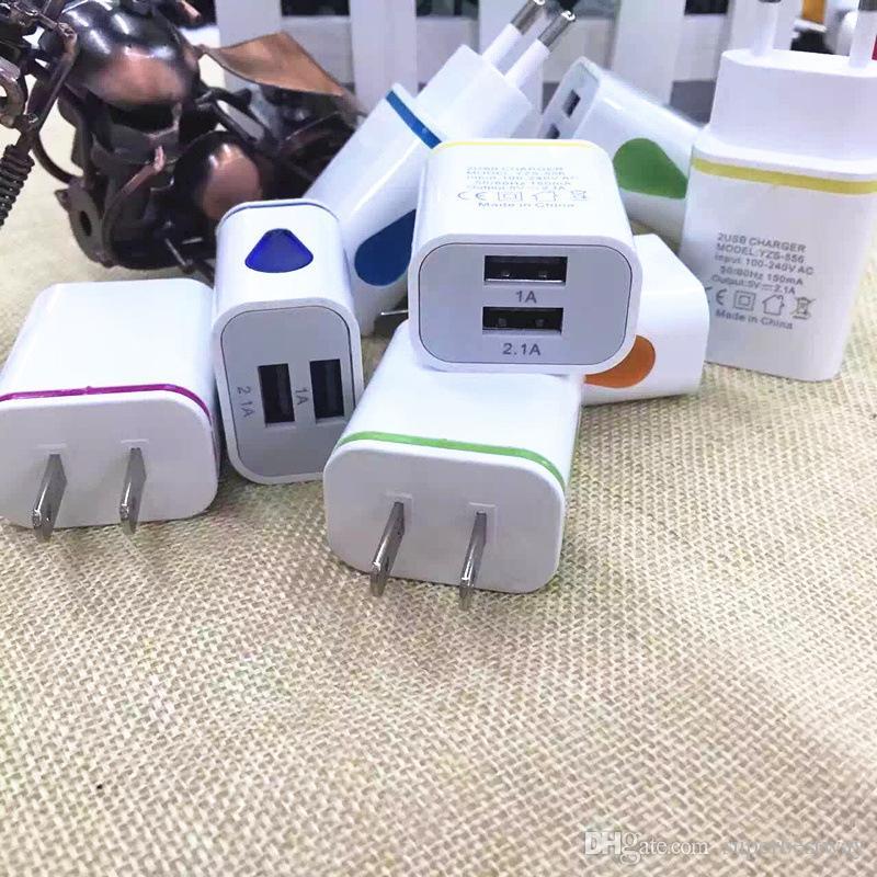 2.1A + 1A Светодиодный индикатор Dual USB Порты Домашний адаптер AC Us EU Plug Зарядное устройство для iPhone 6 7 для Samsung Mobile DHL бесплатная доставка CAB262