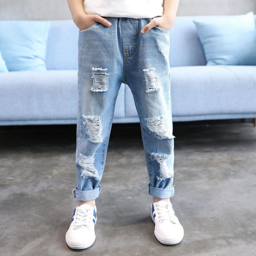4ba9d5125a397 Boys Clothing Jeans Elastic Waist Cotton Children Broken Hole Pants Ripped Jeans  For Boys Jeans For Boy 4 5 6 7 8 9 10 12 Years Y18103008 Black Skinny Jeans  ...