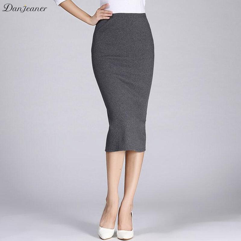 Compre Danjeaner Mujer Trabajo Formal High Wasit Punto Algodón Lápiz Faldas  Elástico Sólido Faldas Largas Delgadas Paquete Split Hip Maxi Skits A   37.59 Del ... c91ec1126472