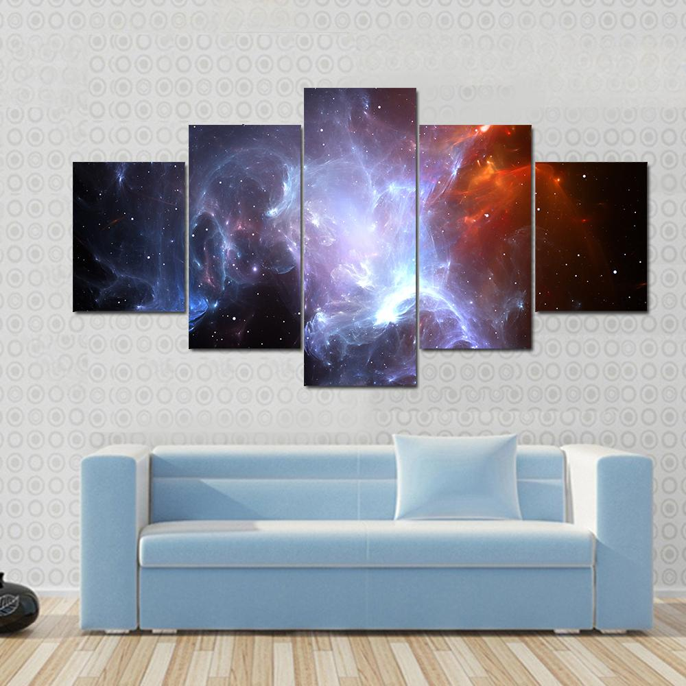 Frame Modular Pictures Vintage Home Decoration 5 Panel Starry Sky Landscape Paintings On Canvas Posters And Printing The Artwork Wall