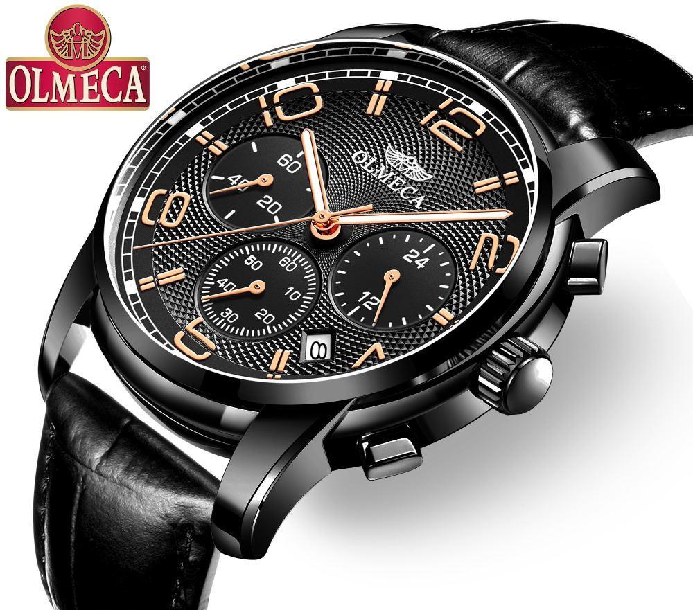 ee0ea92a8cd Compre Homens De Luxo Relógios OLMECA Top Marca Relógio Militar Relogio  Masculino 30 M Relógio Cronógrafo Relógio De Pulso À Prova D  Água Pulseira  De Couro ...
