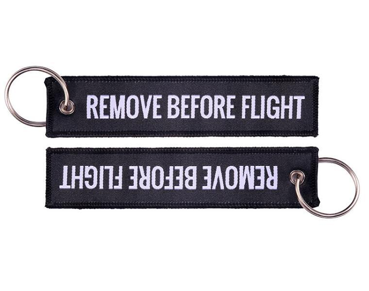 Letter Handbag Keychain Remove Before Flight Key Chain Aviation Gifts Important Things Tag Label Red Embroidery Bag Key Keychain Pendant