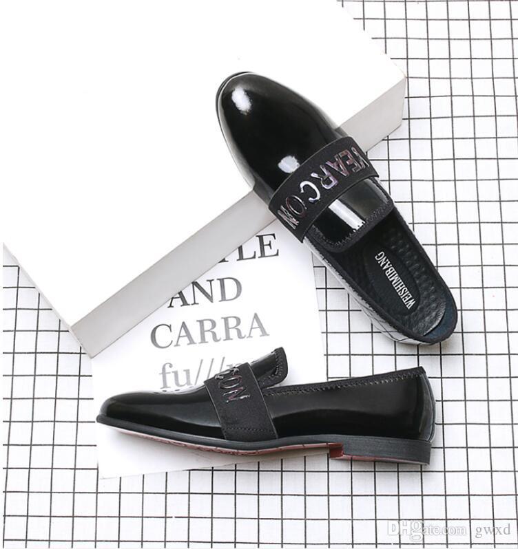 NOVO estilo de Moda Sapatos Masculinos Deslizamento Em Sapatos Oxford Mens Apontou Toe Sapatos de Casamento Sapato De Couro de Patente G269