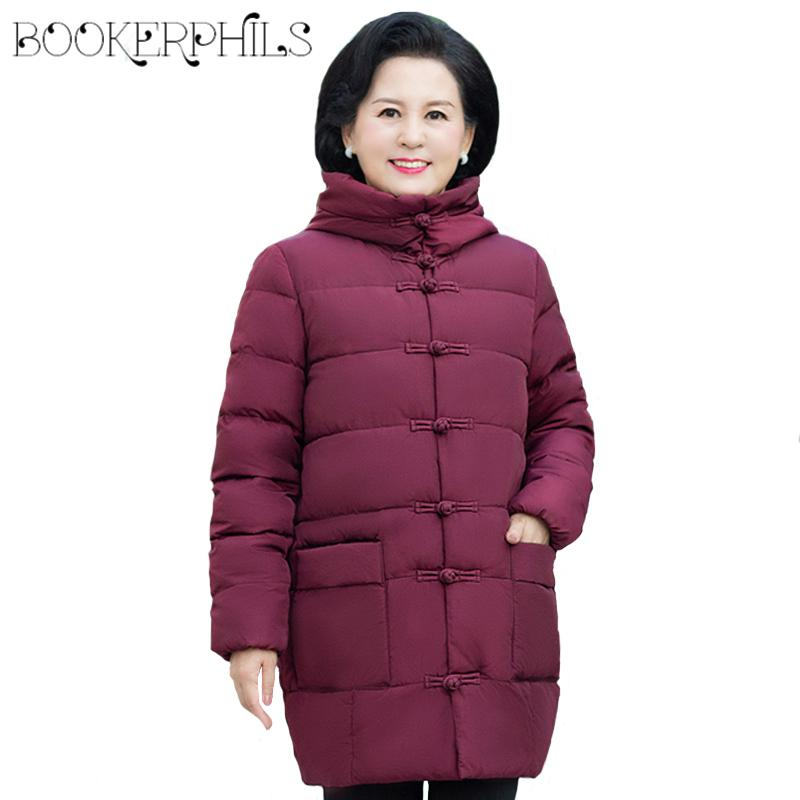 8ca93e1a4 Plus Size 5XL Middle Aged Women Cotton Coat 2018 Winter Hooded Parka Thick  Female Down Jacket Loose Mother Padded Outerwear