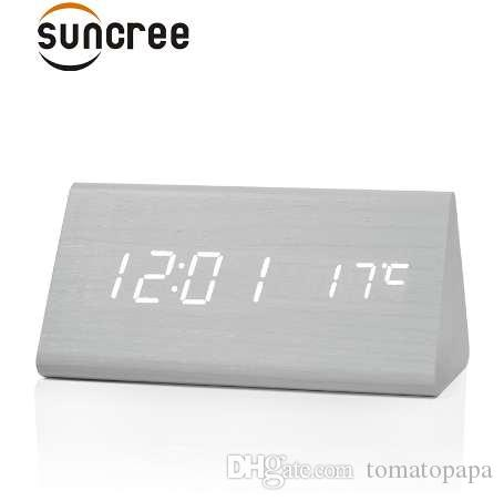 Suncree Factory Modern Thermometer Desk Clocks, LED Digital Alarm  Clock,Sound Control LED Table Clock DropShipping
