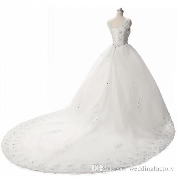Luxus klassische Brautkleider V-Ausschnitt ärmellose Korsett Kristalle Perlen Pailletten Spitze applizierte Tüll Brautkleider mit langen Zug plus Größe