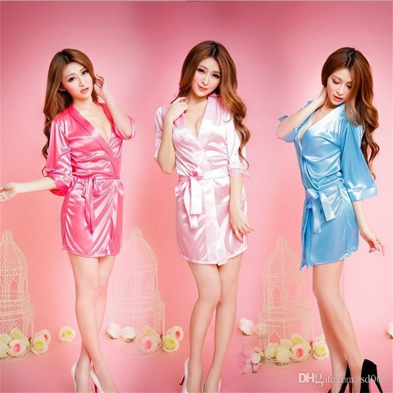 3042d5af9d87 2019 Women Pajamas Sexy Satin Lace Black Kimono Intimate Sleepwear Underwear  Home Clothing Robe Night Gown Evening Dress Bathrobe 6 5py Bb From Sd002,  ...