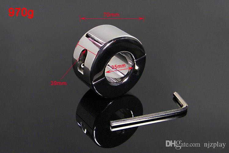 Stainless Steel Ball Stretcher Cock Ring Adult Sex Toys Bondage Gear Penis Restraints Male Chastity Device BDSM Scrotum Pendant Ball Weights