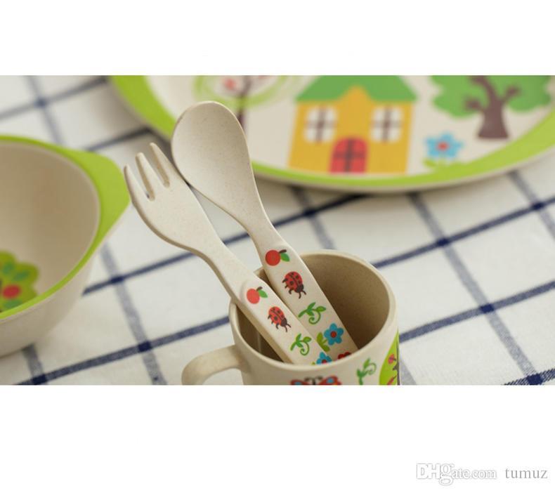 أدوات المائدة للأطفال ، مجموعة أدوات المائدة للأطفال المصنوعة من ألياف الخيزران ، مجموعة غربية من 5 ، حيوانات الكرتون الإبداعية ، مستلزمات التغذية