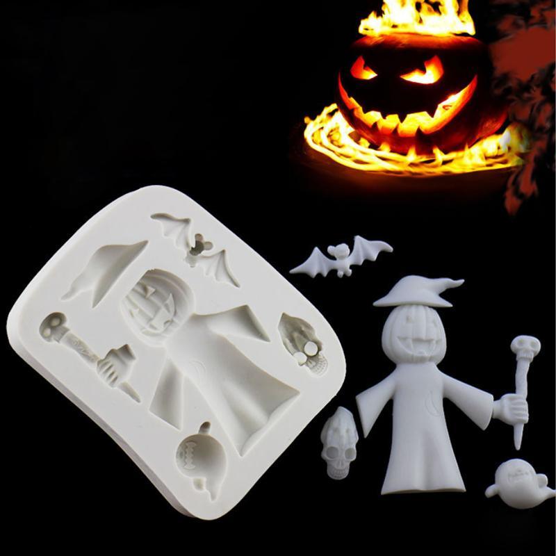 Acquista Zucca Di Halloween Strega Stampo In Silicone Muffa Fondente Torta  Che Decora Strumento Di Cioccolato 57f85f68249a