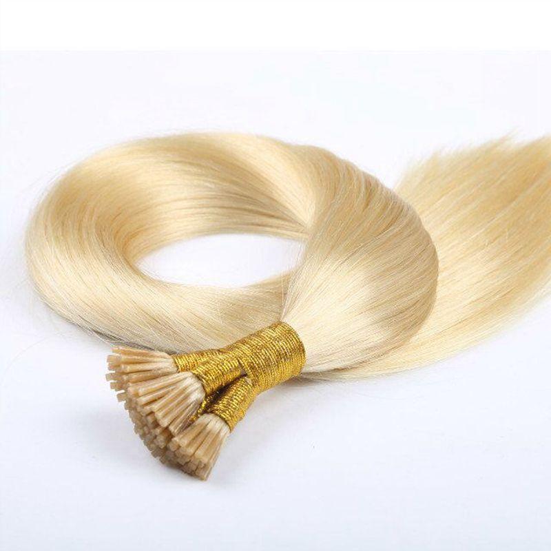 İnsan Remy İpeksi Düz Sarışın Keratin Saç Sopa I İpucu Ön Gümrük Saç Uzantıları Toptan Arapsaçı Ücretsiz