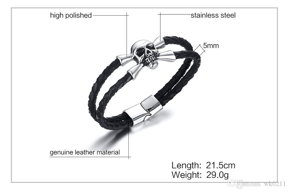 WK brazalete del encanto del cráneo de acero inoxidable joyería de los hombres brazaletes trenzados del cuero genuino negro trenzado brazaletes