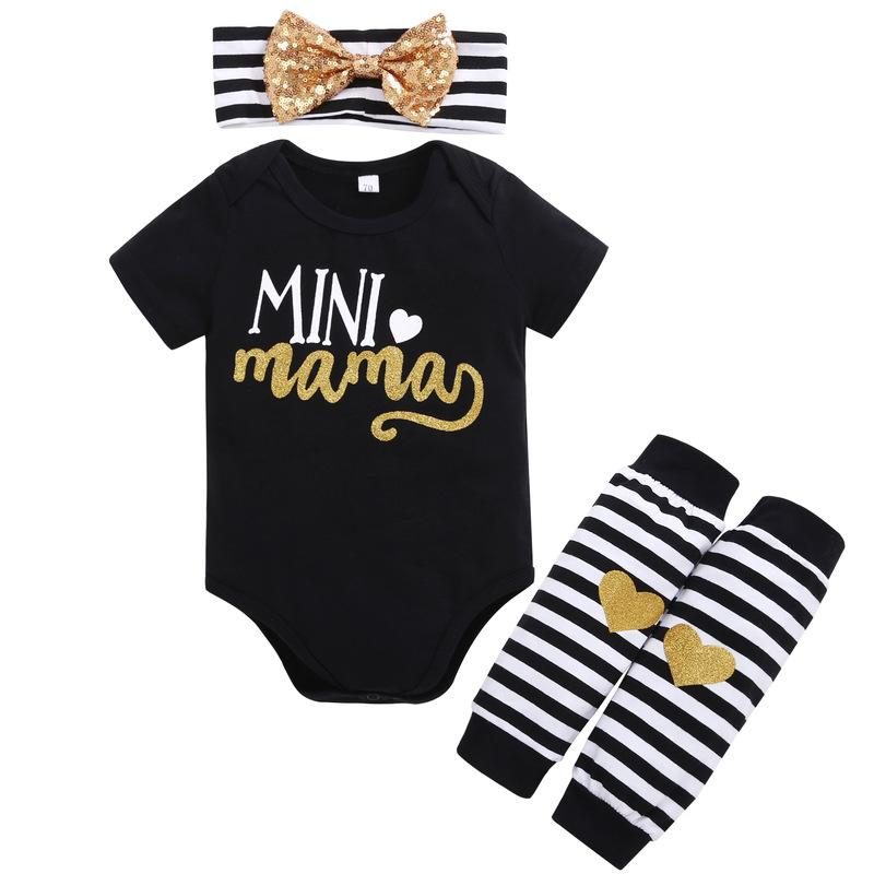 def6ebb2e 2019 Set Newborn Baby Clothes Infant Short Sleeve Letter Pattern Bodysuit  Romper+Headband+Gold Heart Striped Leg Warmer Outfit From Entent, $20.26 |  DHgate.