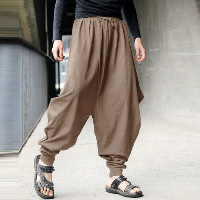87698e0411e 2019 Autumn Hip Hop Cotton Linen Baggy Harem Pants Men Fitness Casual Loose  Wide Leg Trousers Drawstring Joggers Plus Size 3X 8J0510 From Yolkice