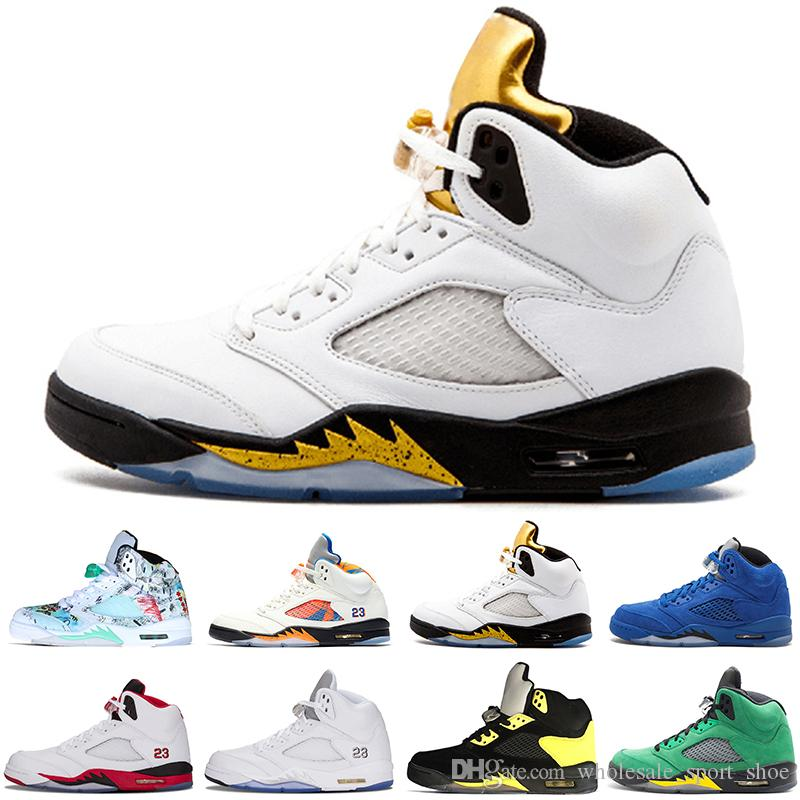 dab7b69a6703 2019 High Quality 5 5s Wings Black Metallic 3M Reflect Black Grape Oreo  Basketball Shoes Men 5s Red Suede CDP White Cement Sneakers From ...