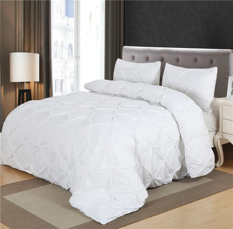 Black White Luxury Duvet Cover Set Pinch Pleat 2 Twin Queen King