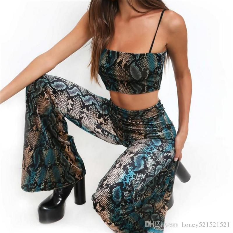 b037b5c33f6 2019 New European Fashion Women S Sexy Snake Print Spaghetti Strap Crop Top  Vest And Flare Long Pants Twinset SML From Honey521521521