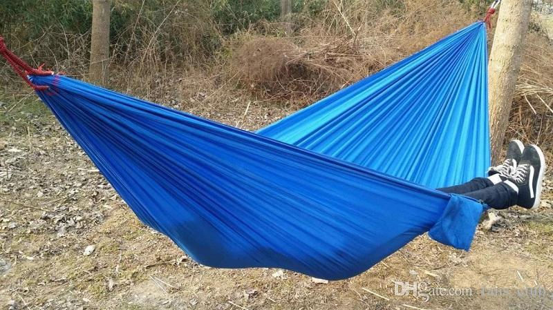 Portable Nylon Parachute Double Person Hammock Outdoor Camping Safe Outdoor Gear 270 X 140cm 600g Travel Hammock for Sleeping