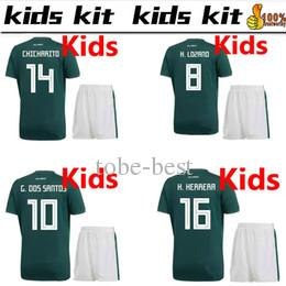 2018 world cup Mexico soccer Jersey Kids Kit 2018 Mexico home green Soccer Jerseys #14 CHICHARITO Child Soccer Shirts uniform jersey