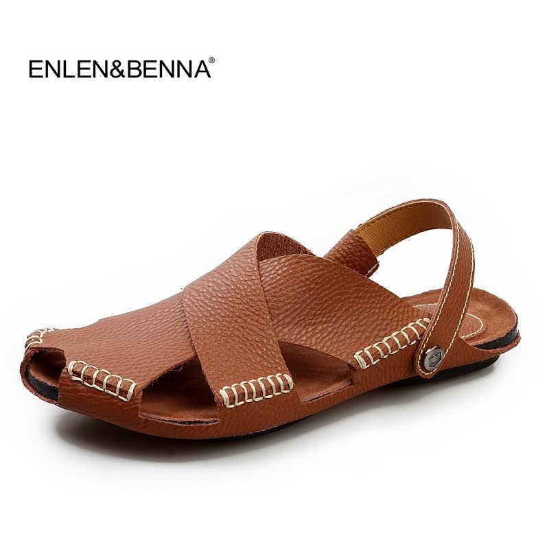 7920b4ddaf91 Fashion Men Sandals Genuine Leather Mens Dress Sandals 2017 Summer  Breathable Men s Beach Shoes Flip Flops Male Casual Slippers Green Shoes  Shoe Shop From ...