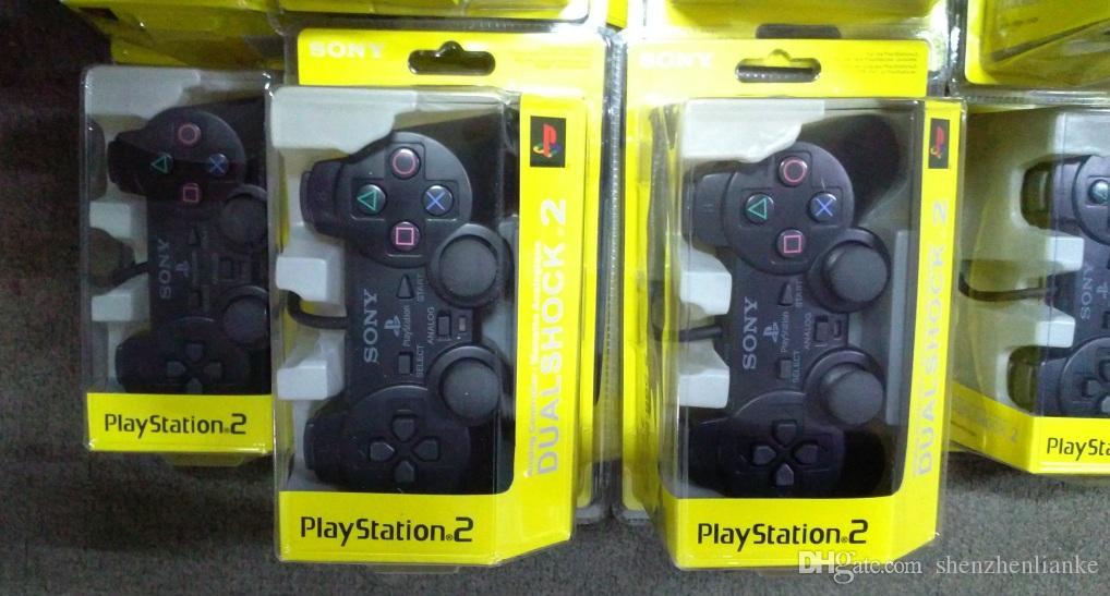 Wired Dupla vibração Choque Controller Gamepad Compatível para Playstation 2 PS2 Console Videogame Embalagem de Varejo Preto