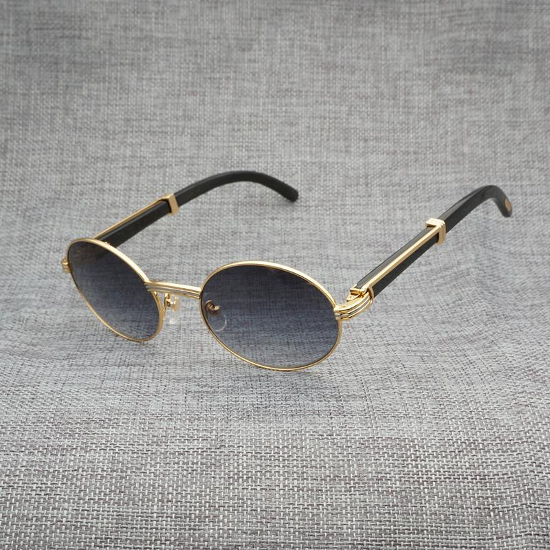 3d299a13ddefb Vintage Buffalo Horn Round Sunglasses Men Accessories Wooden Sun Glasses  For Driving Club Clear Glasses Gold Frame Oculos Gafas Police Sunglasses  Serengeti ...
